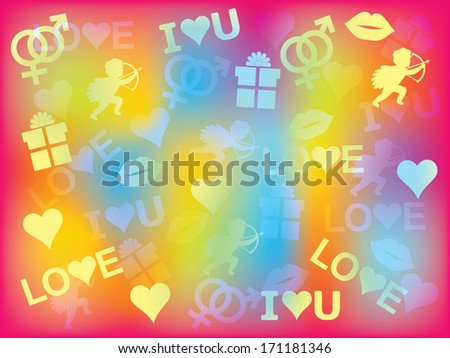 colorful background with Valentines Day symbols