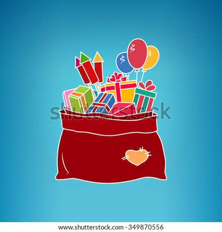 Colorful Bag of Santa Claus with Gifts on a Blue Background,  a Bag with Gifts and Multicolored Firecrackers and Balloons - stock photo