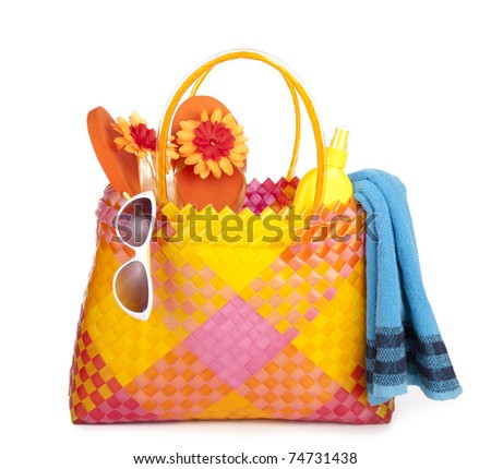 colorful bag with beach items - stock photo