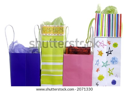Colorful bags with presents for somebody await to be opened
