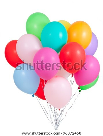 colorful ballons bunch isolated on white background