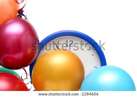 Colorful balloons and clock on a white background - stock photo