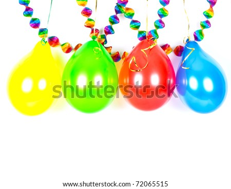 Colorful balloons and garlands. Party decoration - stock photo
