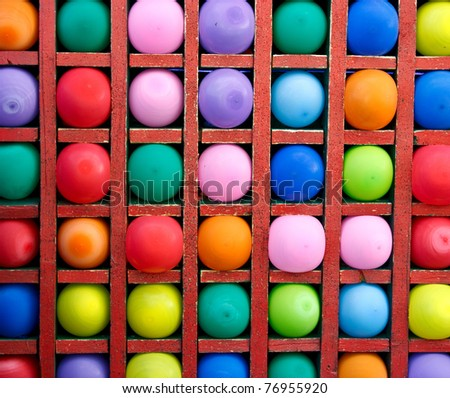 Colorful balloons as targets. The photo was taken in the children's park. - stock photo
