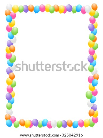 Colorful balloons border / frame illustration for birthday cards and party backgrounds - stock photo