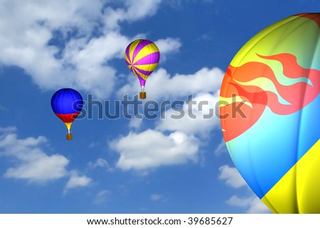 colorful balloons in the sky. 3d rendered image