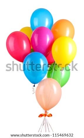Colorful balloons isolated on white