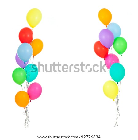 colorful balloons isolated on white; party decoration - stock photo