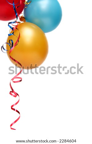 Colorful balloons on a white background - stock photo