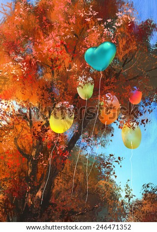 colorful balloons on autumn forest background.digital painting - stock photo