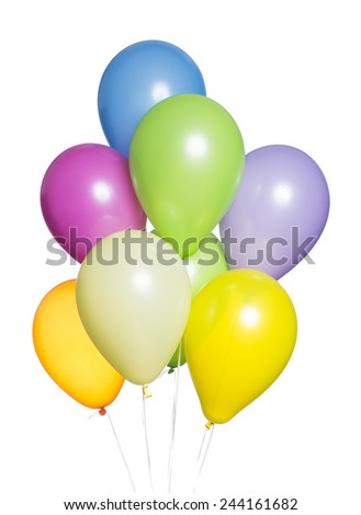 Colorful Balloons on White Background. Brightly lit and useful to represent happiness, celebration and festive concepts - stock photo