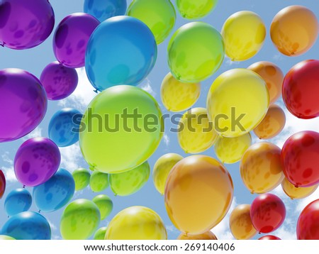 Colorful balloons over blue sky - stock photo