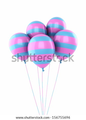 colorful balloons render (isolated on white) - stock photo