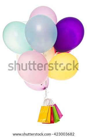 colorful Balloons with a lot of shopping bags, isolated on white