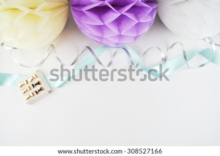 Colorful balls, party and glamour style, gold accessories. White background. yellow., gold, mint, table view woman - stock photo