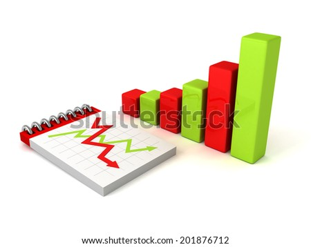 colorful bar chart graph with paper notebook. business concept 3d render illustration