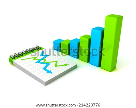 colorful bar chart graph with paper notebook. business concept 3d render illustration - stock photo