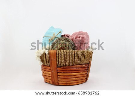 Colorful basket of Turkish towels for bathing
