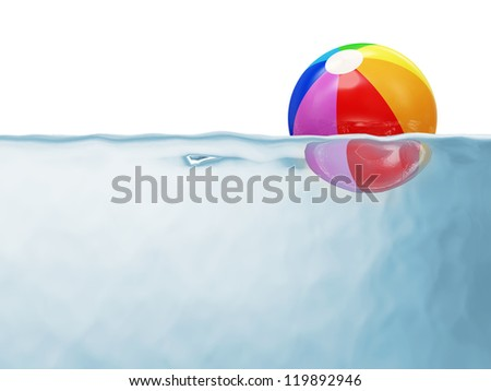 Colorful Beach Ball in Water isolated on white background with place for your text - stock photo