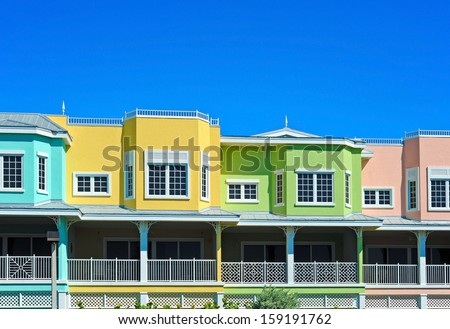 Colorful Beach Condominiums for Sale or Lease - stock photo