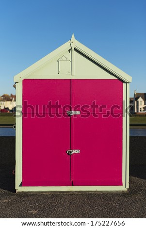 Colorful Beach Hut at Hove, near Brighton, East Sussex, UK. - stock photo