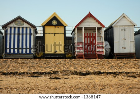 Colorful Beach Huts - stock photo