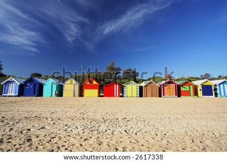Colorful beach huts at Brighton Beach near Melbourne, Australia - stock photo