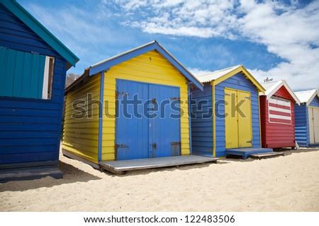 Colorful beach huts at the beach in Melbourne, Australia - stock photo