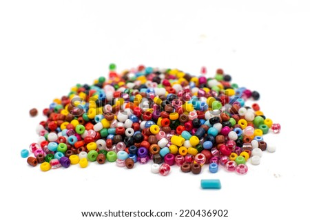 colorful beads isolated on white background - stock photo