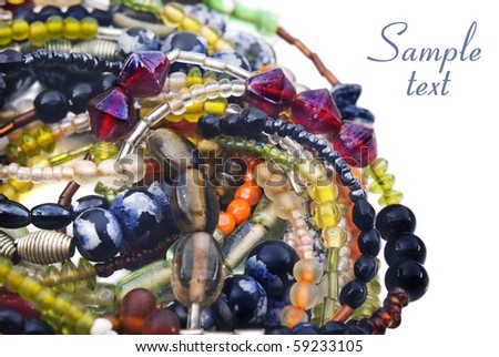 Colorful beads on strings - stock photo