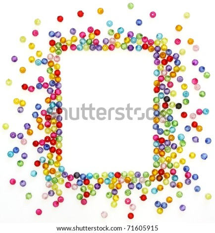 Colorful beads, space for photo or text isolated on white background - stock photo