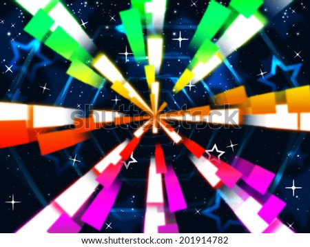 Colorful Beams Background Meaning Stars And Hexagonal  - stock photo