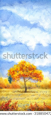 """Colorful beautiful bright watercolour on paper backdrop with space for text. Series """"Different seasons"""". White cumulus in blue heaven over valley with lush tree, wildflowers and firs on horizon forest - stock photo"""