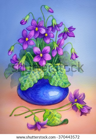 Colorful beautiful romantic bright watercolour on paper backdrop with space for text. Vivid cheerful lilac lush elegant corsage with big green leaves of bush forest violet in small round cobalt pot - stock photo