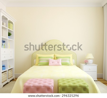 Colorful bedroom  interior for girl. Frontal view. 3d render. - stock photo
