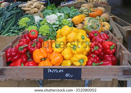 Colorful Bell Peppers at Farmers Market - stock photo