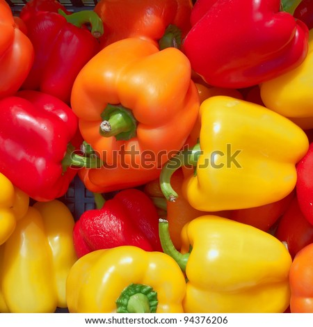 colorful bell peppers, natural background - stock photo