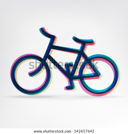 Colorful bicycle icon. Raster version, vector file available in portfolio. - stock photo