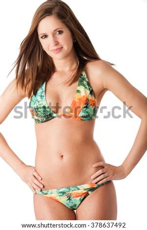 Colorful bikini pose - stock photo