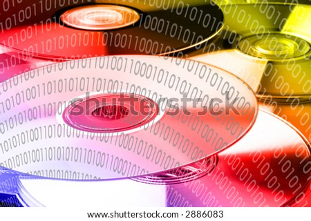 colorful binary code 0101 on dvd's - landscape format - stock photo