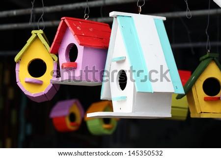 colorful bird house. - stock photo