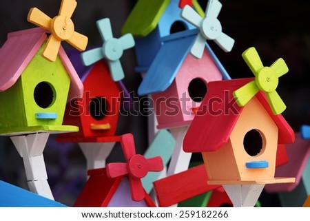 colorful bird house - stock photo