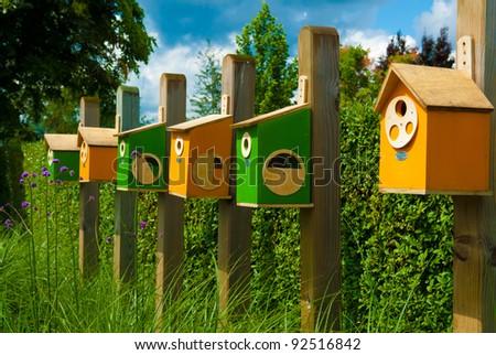 colorful birdhouses - stock photo