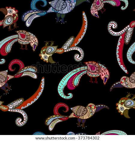 colorful birds on a dark background. This seamless - stock photo