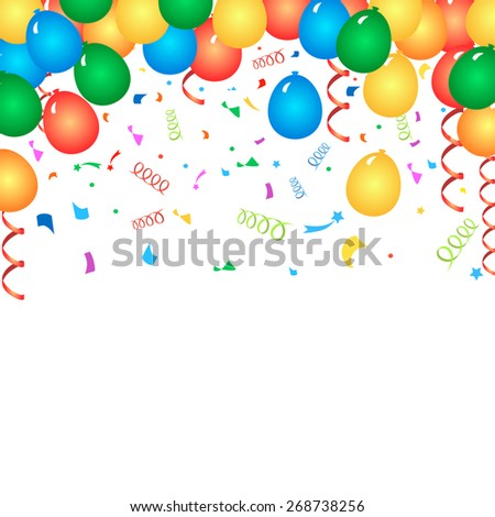 Colorful birthday balloons and confetti  -  background - stock photo