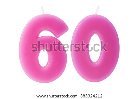 Colorful birthday candles in the form of the number 60 on white background - stock photo