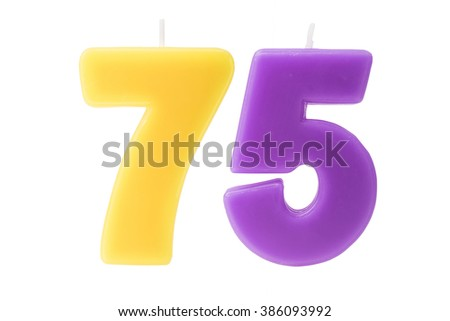 Colorful birthday candles in the form of the number 75 on white background - stock photo