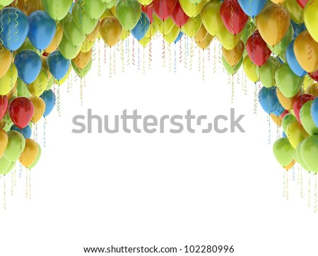Colorful birthday party balloons isolated on white background - stock photo
