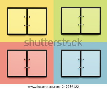 Colorful blank copybooks with copy space. - stock photo