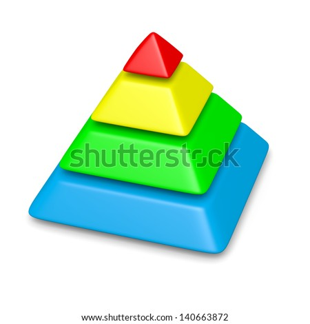 colorful blank pyramid 4 levels stack chart with shadow 3d illustration